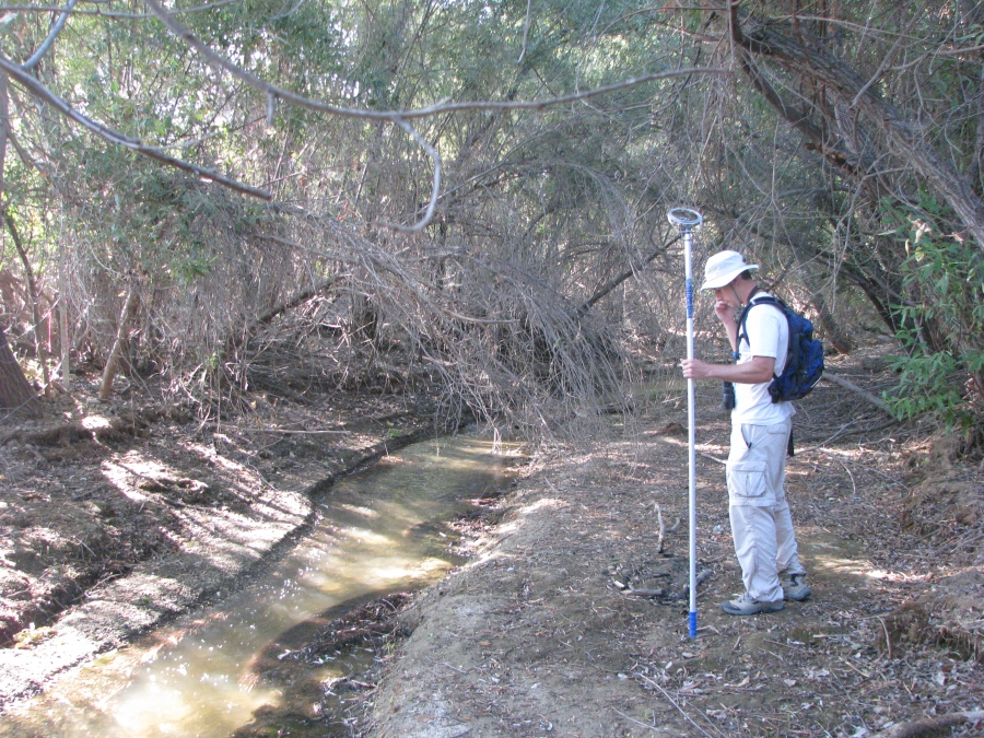 Working with another NRC biologist on a survey in Lake Elsinore in 2009.