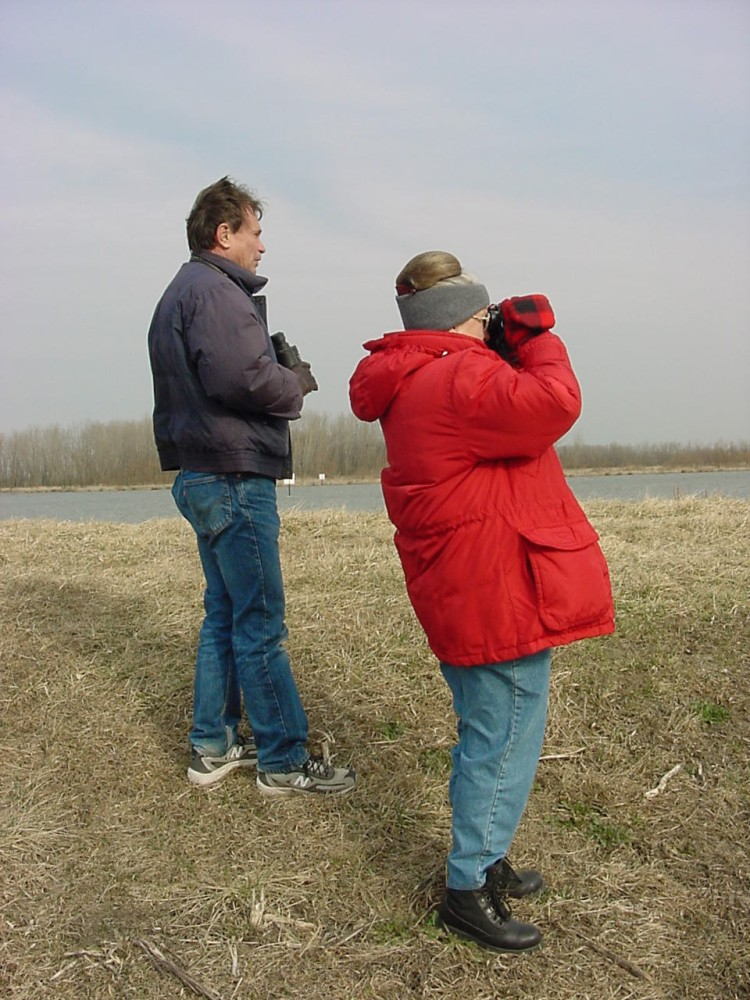 Lee Jones with Eleanor Nunley at Killdeer Plains Wildlife Area sometime in early 2002. Photo by Marcus C. England.
