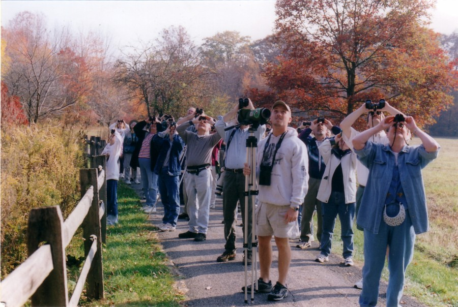 Leading a bird walk at Blendon Woods Metro Park, Columbus, Ohio with David Sibley to publicize the release off Audubon's
