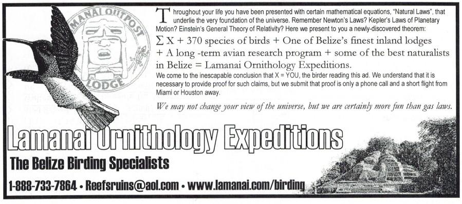 Ad for Lamanai Ornithology Expeditions I developed for Birding magazine.
